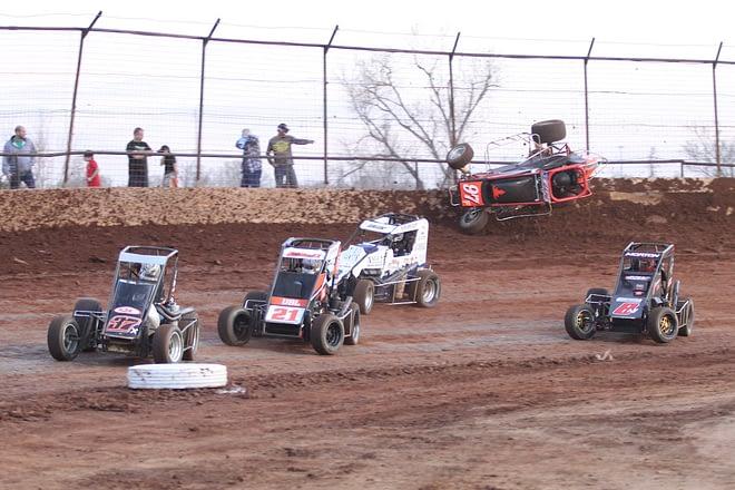 Dirt track race wreck