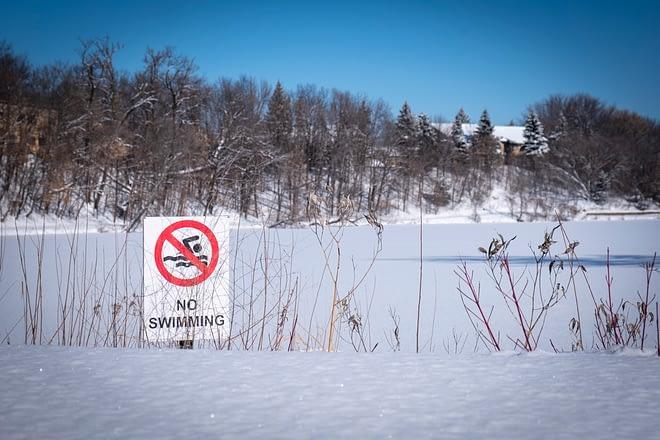 no swimming in winter